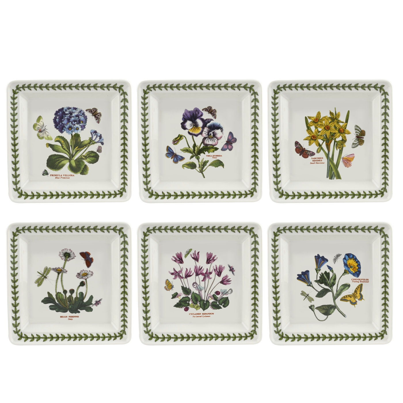 Botanic Garden 7 Inch Square Plate Set of 6 (Assorted Motifs) image number 0