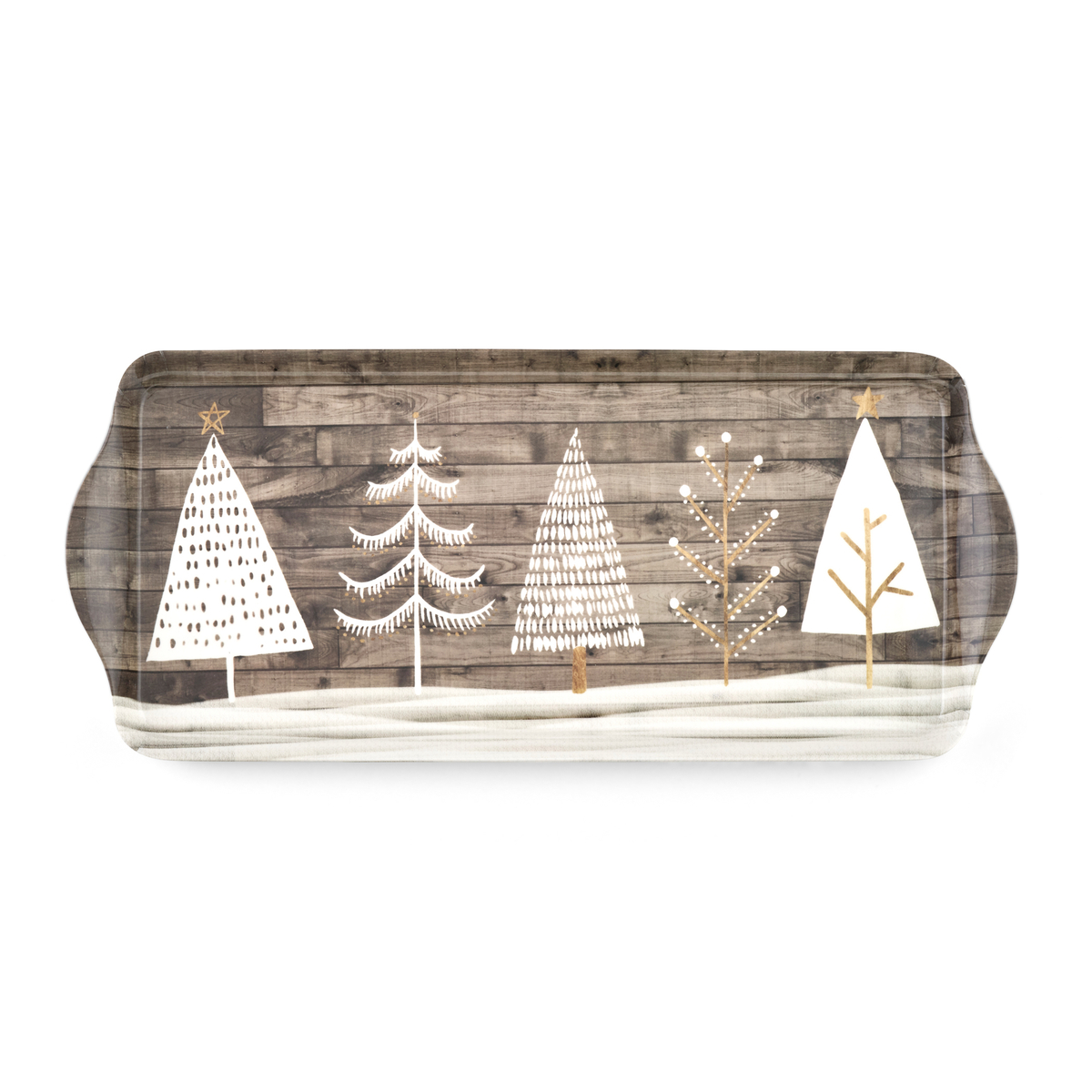 Pimpernel Wooden White Christmas Melamine Sandwich Tray image number 0