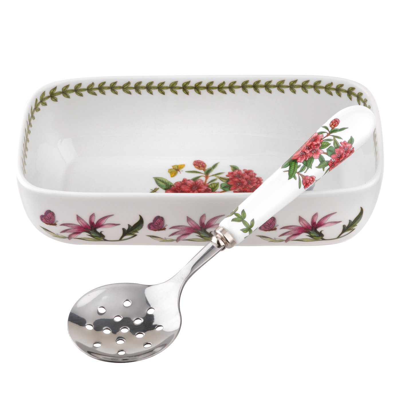 Botanic Garden Cranberry Dish with Slotted Spoon (Rhododendron) image number 0