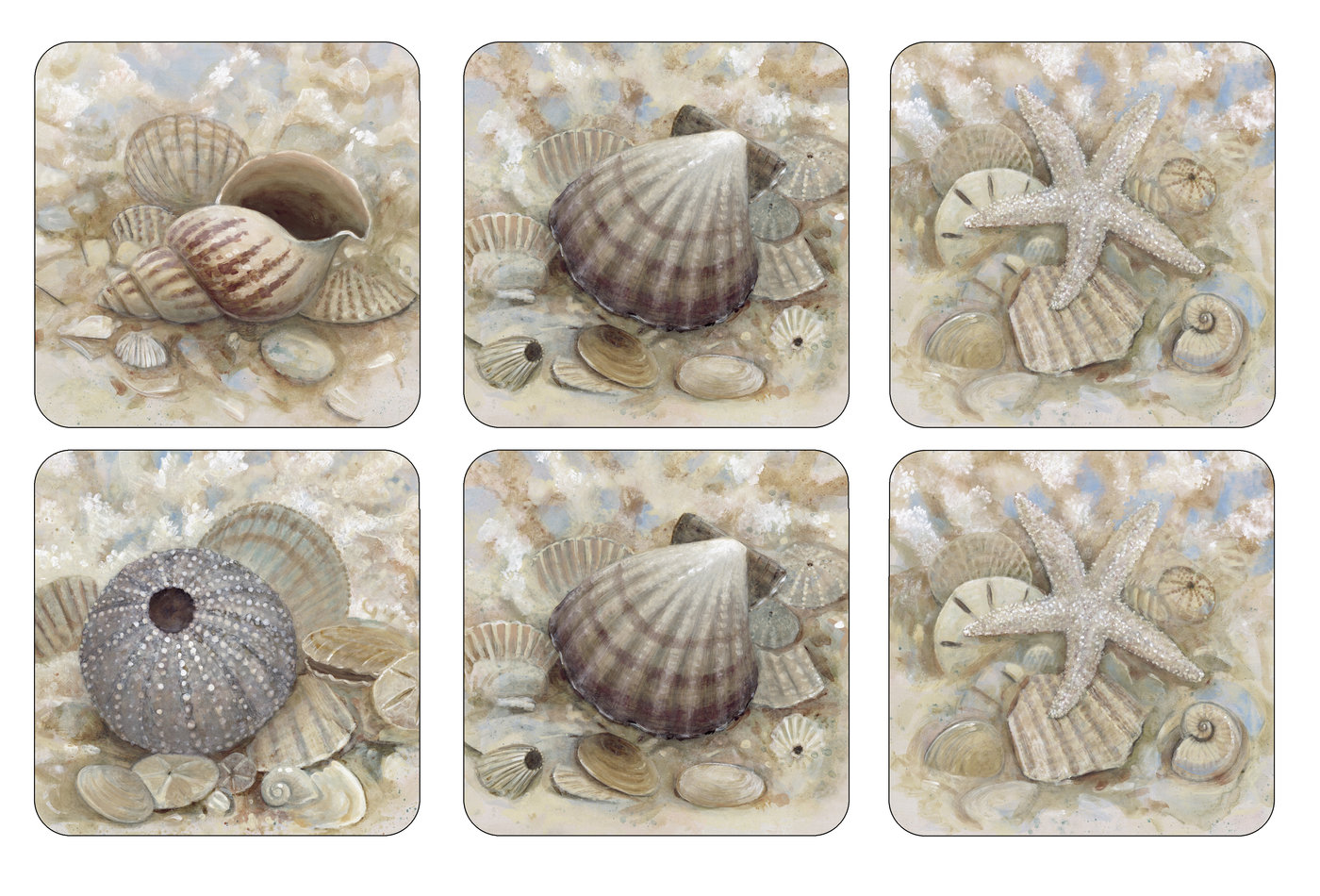 Pimpernel Set of 6 Beach Prize Coasters image number 0