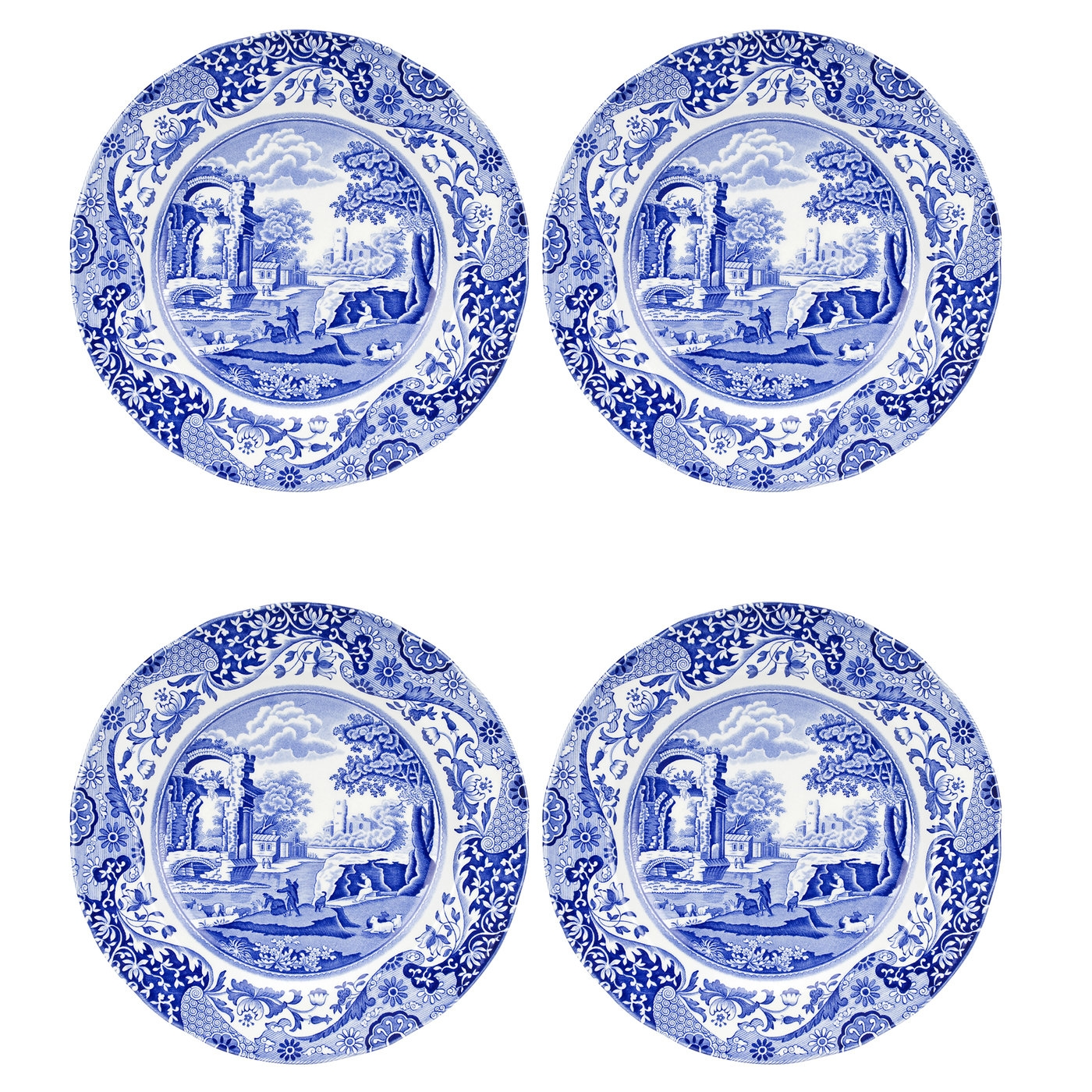 Spode Blue Italian Set of 4 Dinner Plates image number 0