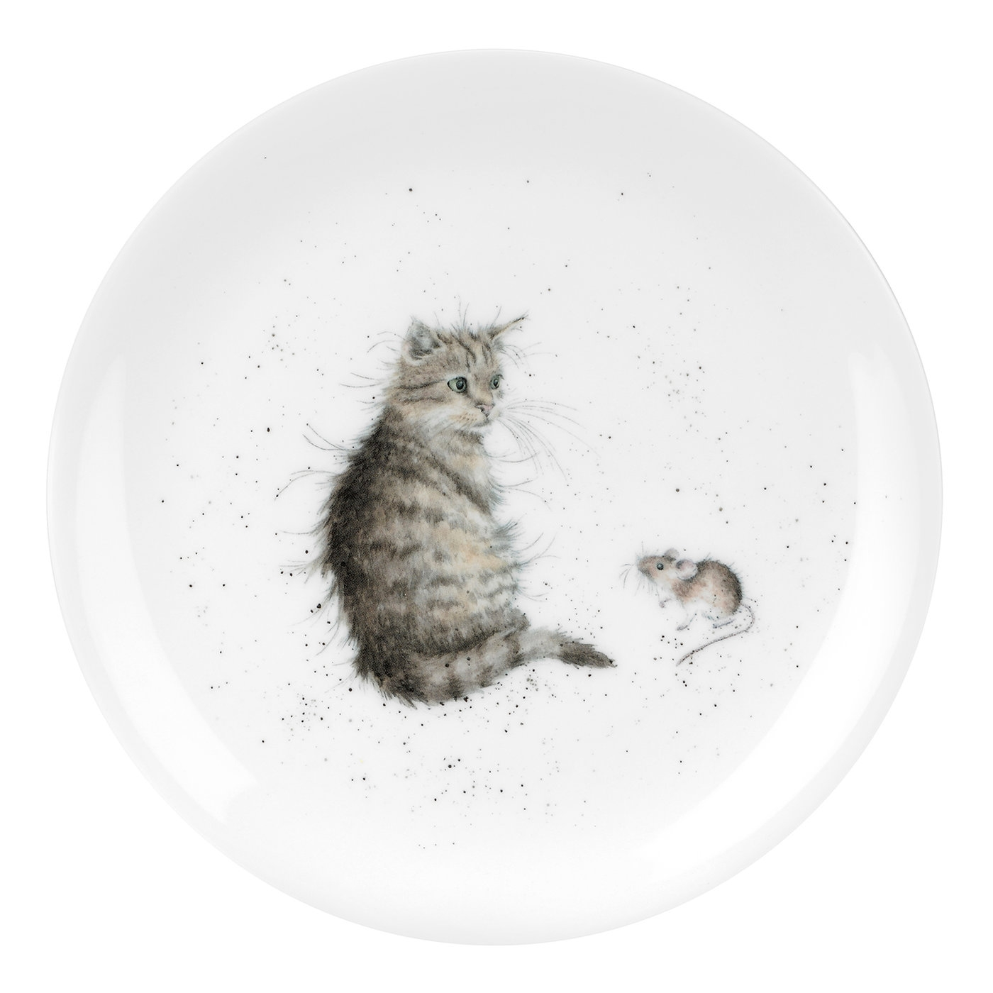 "Royal Worcester Wrendale Designs Single Cat and A Mouse (Cat/Mouse) Fine Bone China 8"" Plate image number 0"