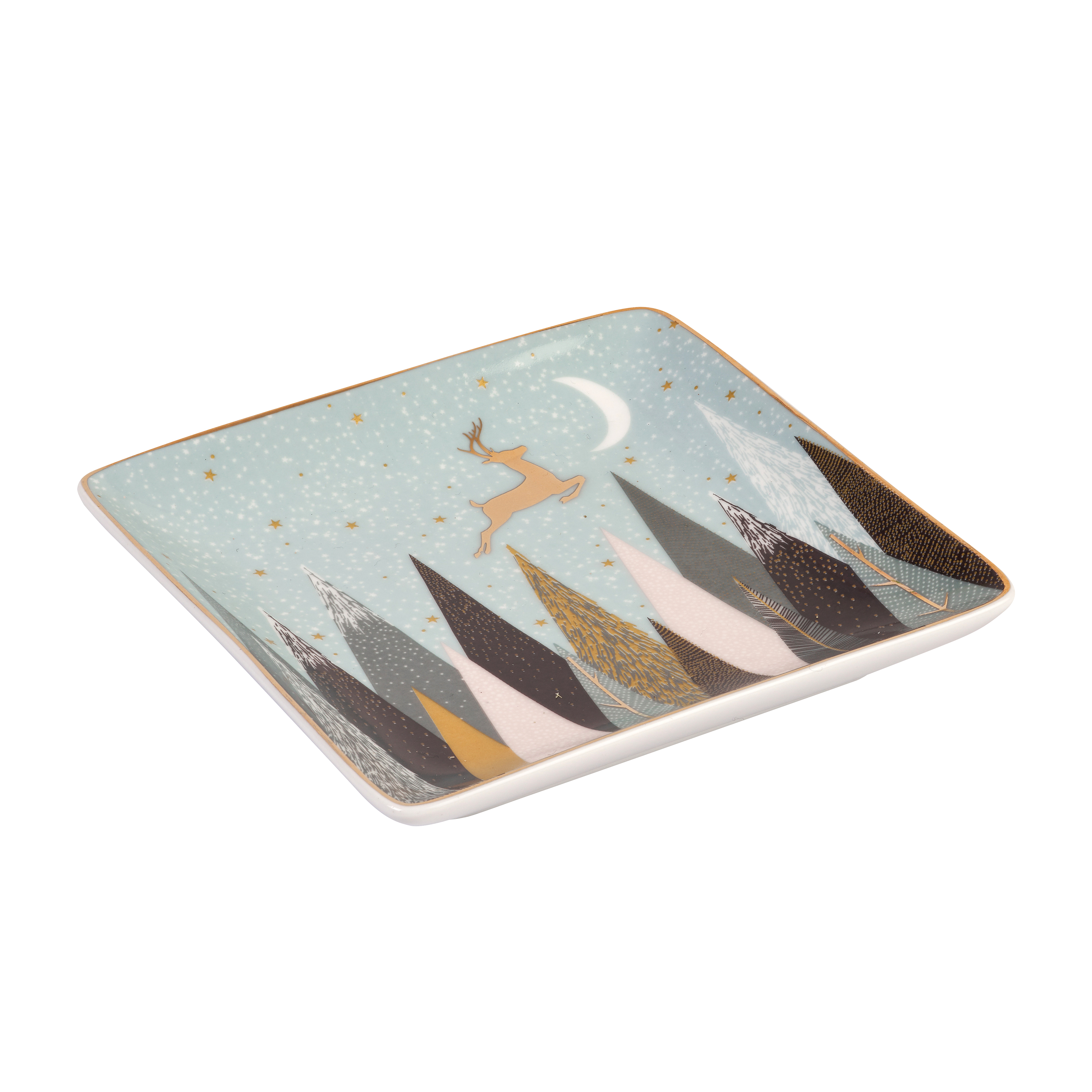 Sara Miller London for Portmeirion Frosted Pines Set of 3 Square Trays 4.5 Inch image number 3