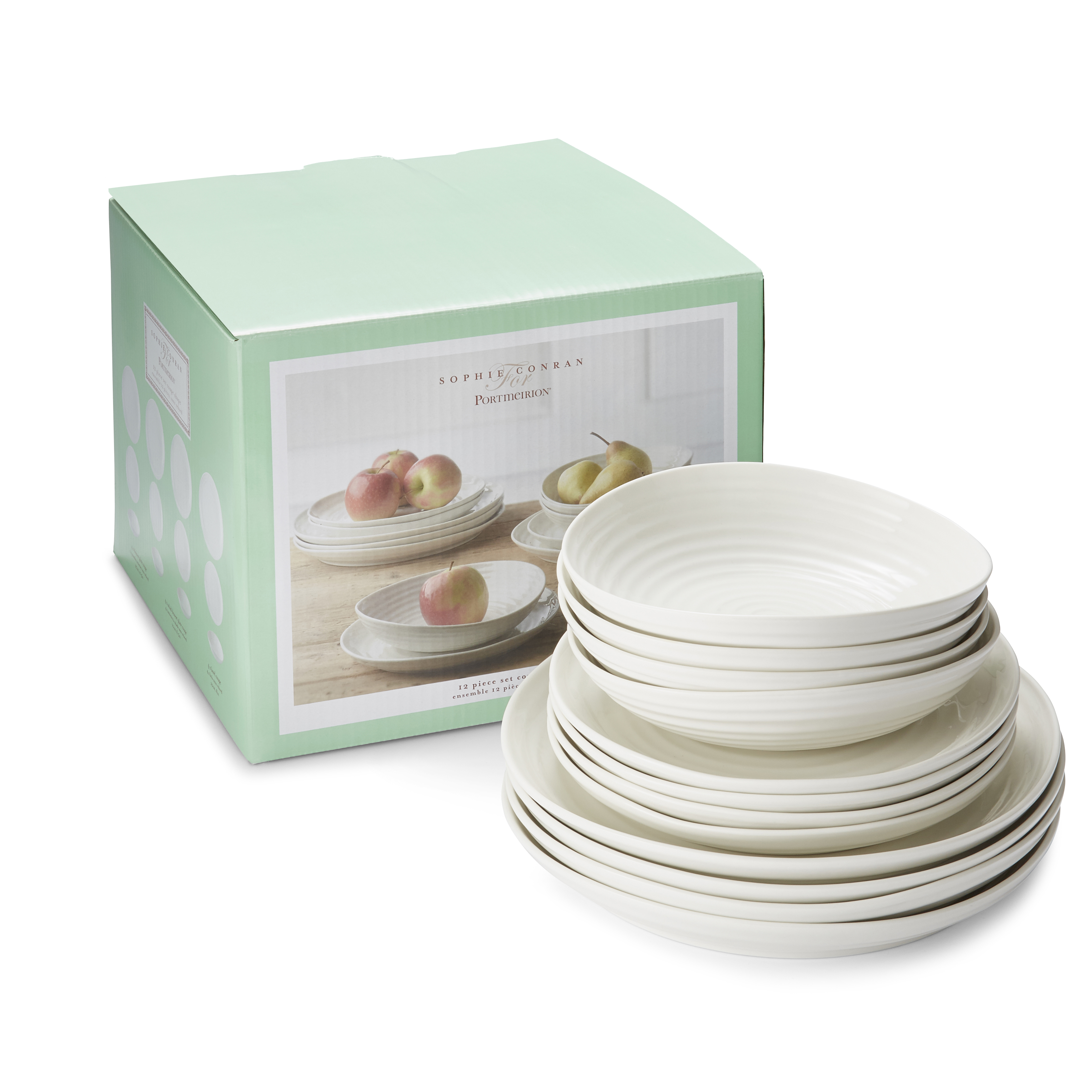 Portmeirion Sophie Conran White 12 Piece Set Coupe Shape image number 2
