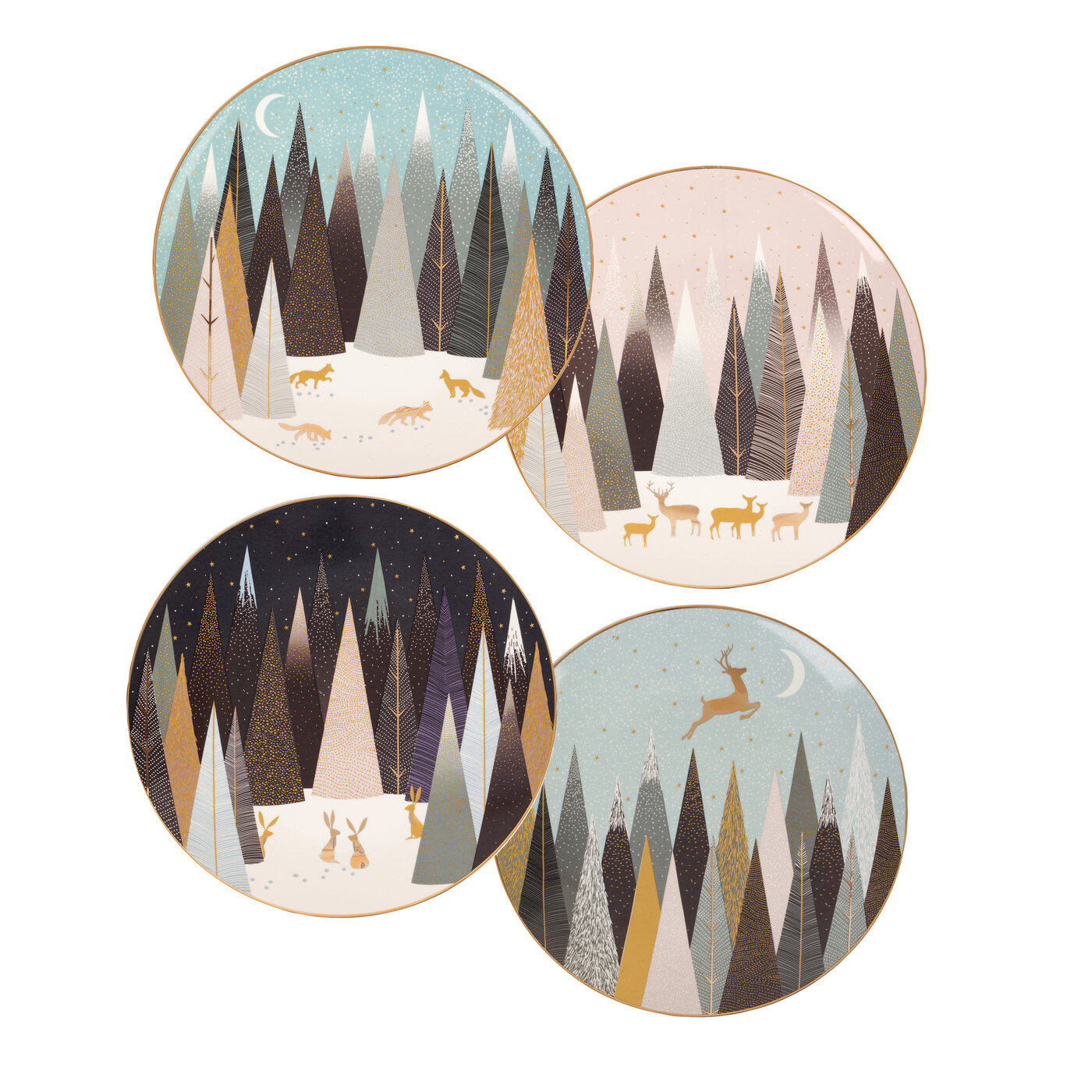 Sara Miller London for Portmeirion Frosted Pines Dessert Plates Set of 4 image number 0