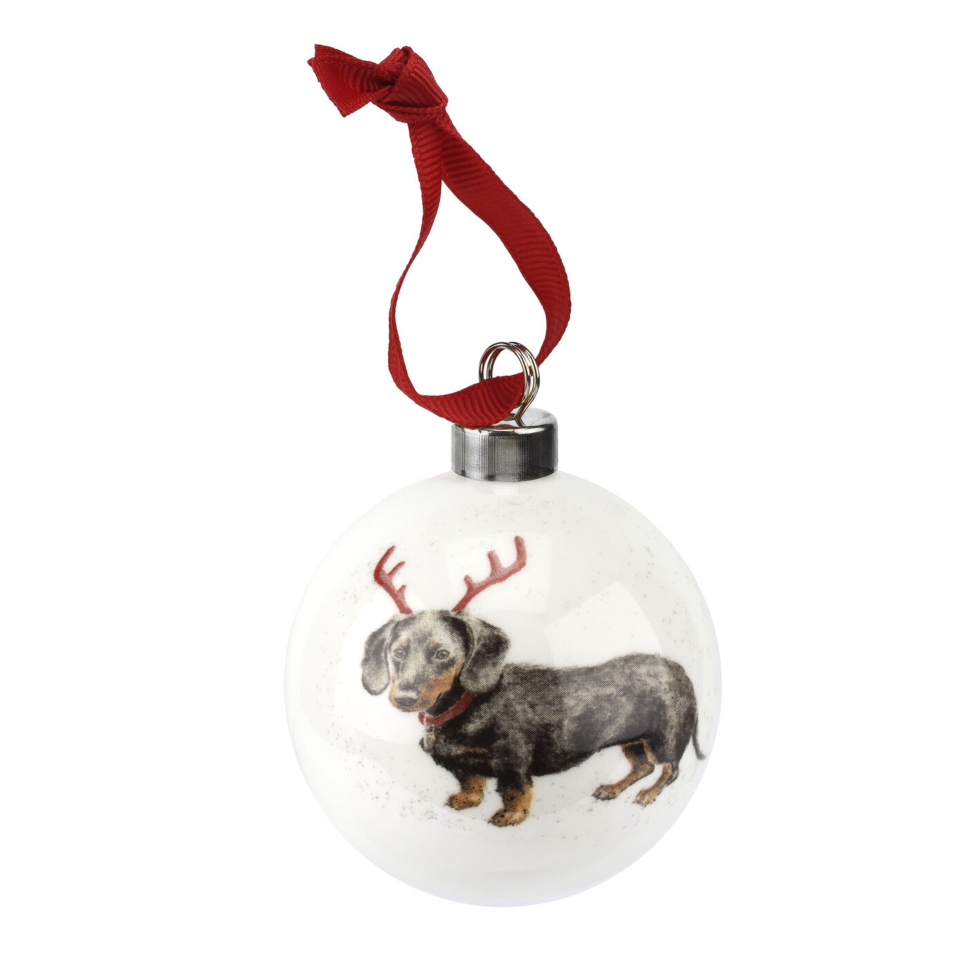 Royal Worcester Wrendale Designs Bauble (Dachshund Through The Snow) image number 0