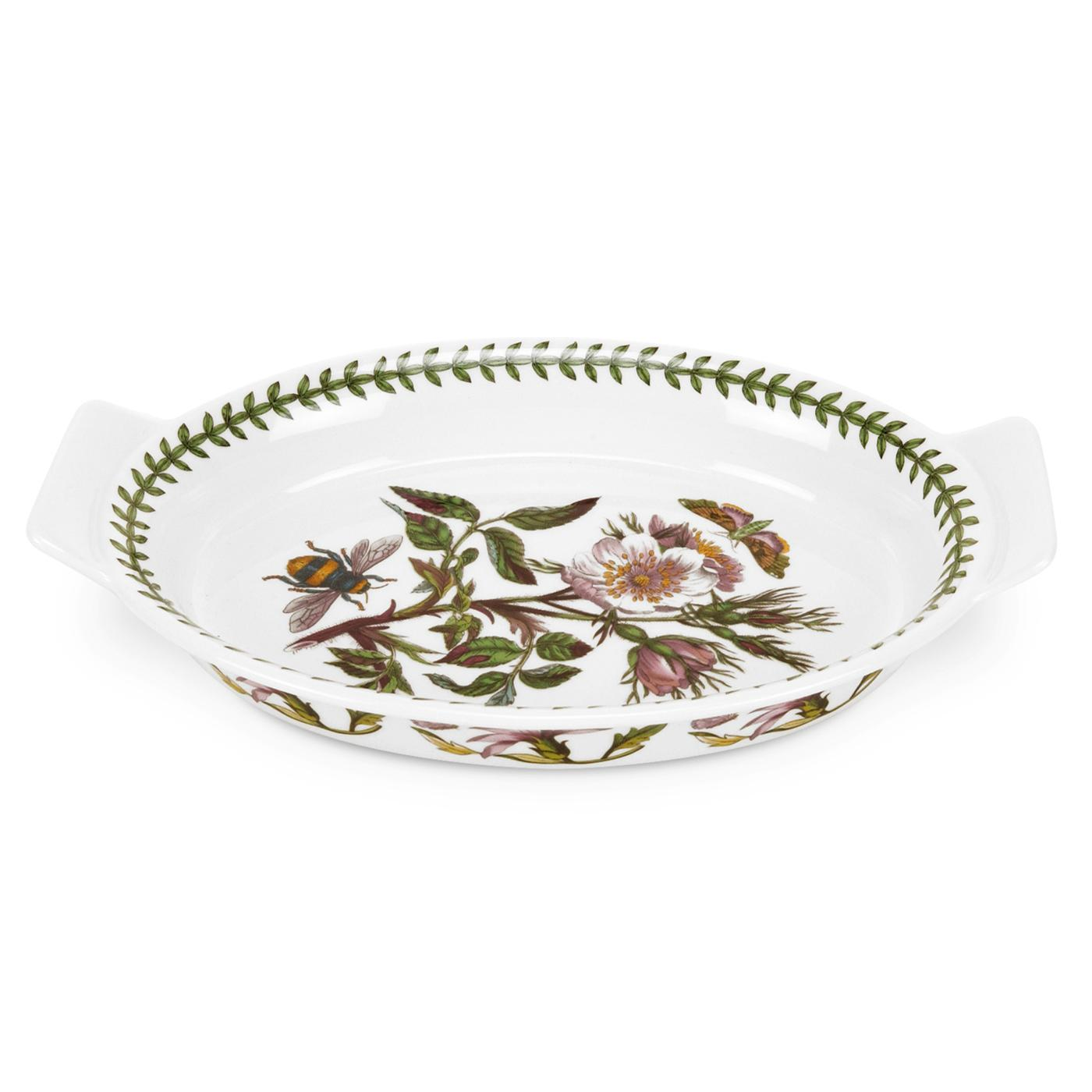 Botanic Garden 10 Inch Medium Oval Gratin Dish (Dog Rose) image number 0