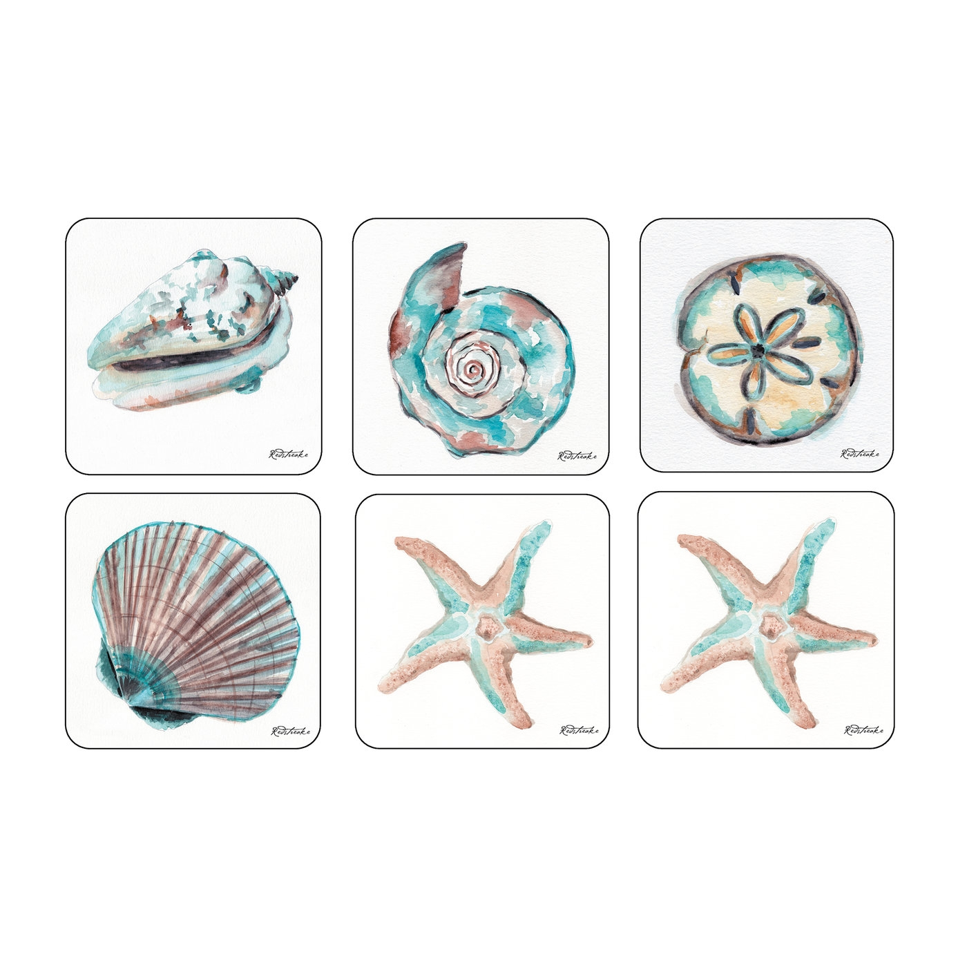 Pimpernel Coastal Shore Coasters Set of 6 image number 0