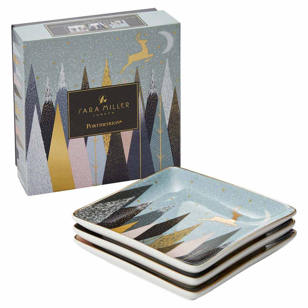 Sara Miller London for Portmeirion Frosted Pines Set of 3 Square Trays 4.5 Inch image number 4
