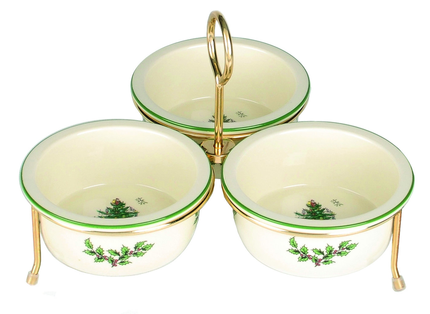 Spode Christmas Tree Set of 3 Bowls with Gold Metal Rack image number 0