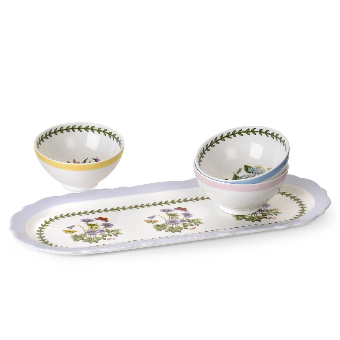 Portmeirion Botanic Garden Terrace Scalloped Sandwich Tray and Assorted Set of 3 Dip Dishes image number 0