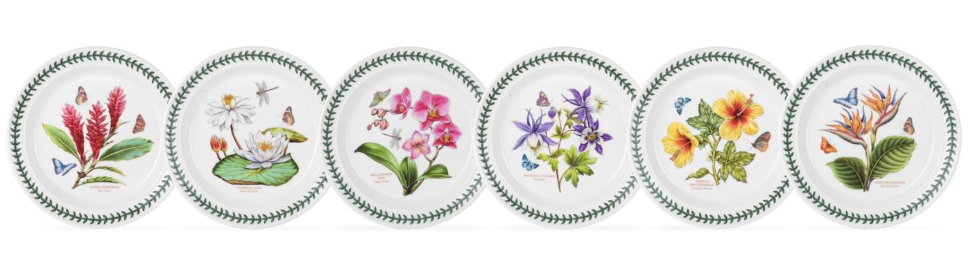 Portmeirion Exotic Botanic Garden Set of 6 Assorted Motif Dinner Plates image number 0