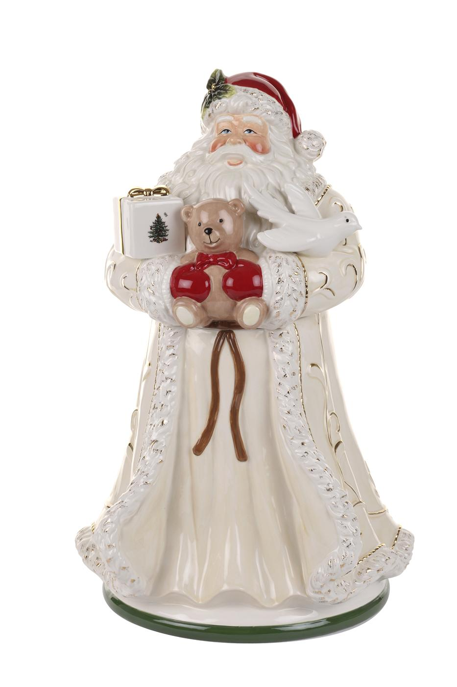 Spode Christmas Tree Gold Figural Collection Large Santa Cookie Jar  image number 0