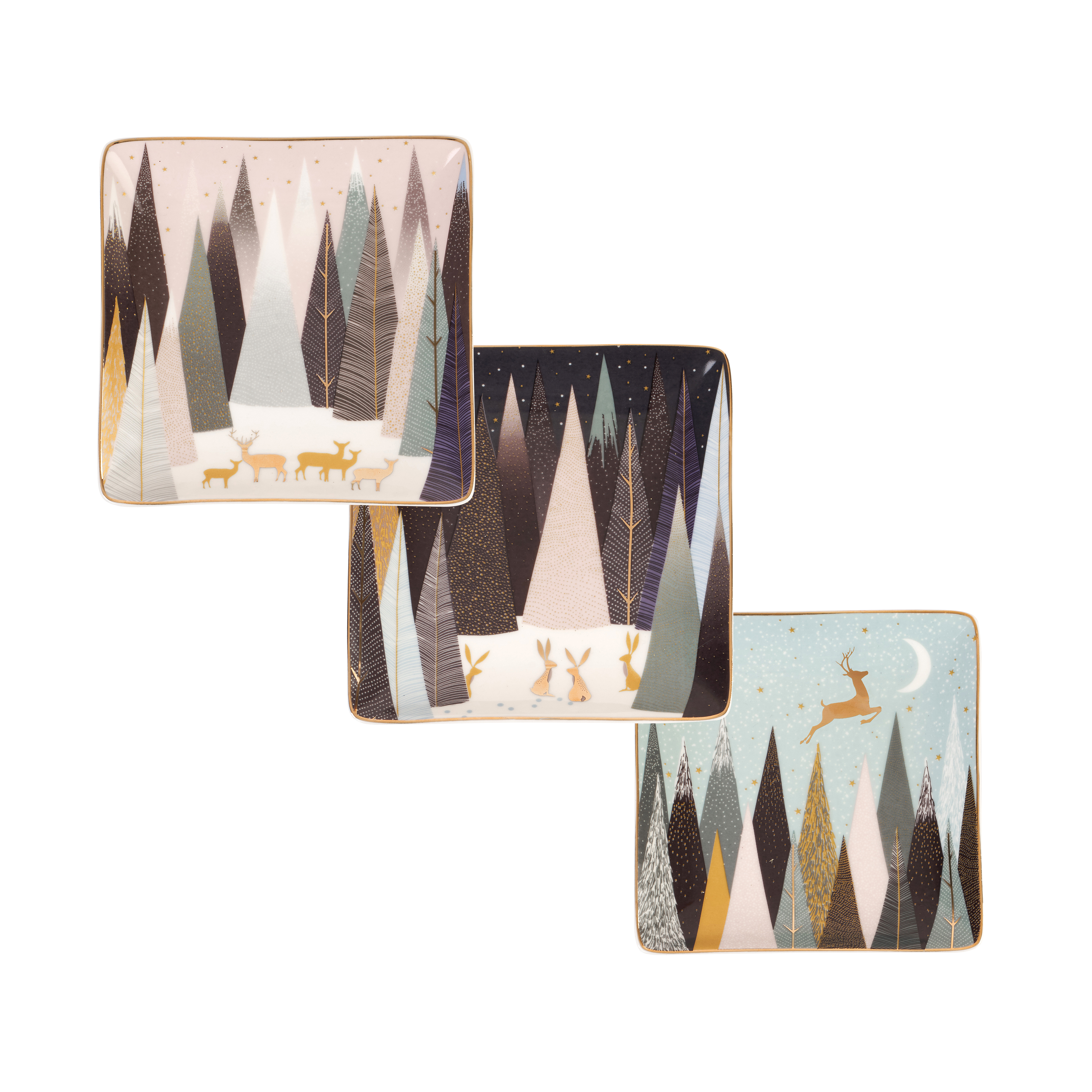 Sara Miller London for Portmeirion Frosted Pines Set of 3 Square Trays 4.5 Inch image number 0