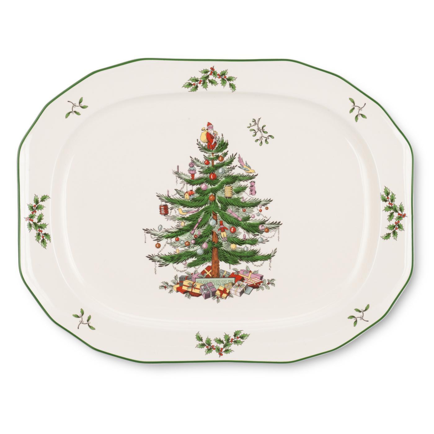 Spode Christmas Tree Sculpted Oval Platter image number 0
