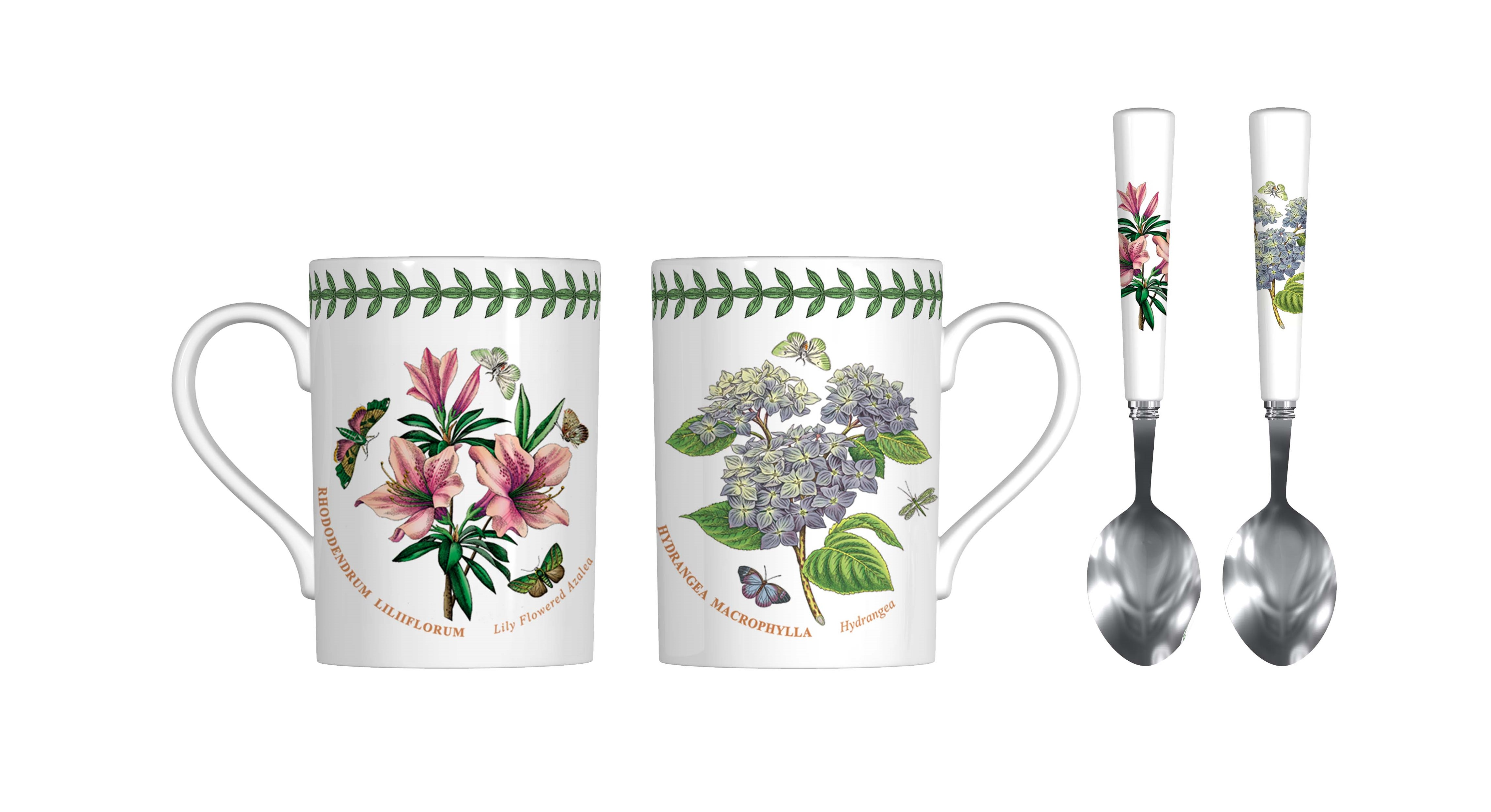 Botanic Garden 4 Piece Mug and Spoon Set (Azalea/Hydrangea) image number 0