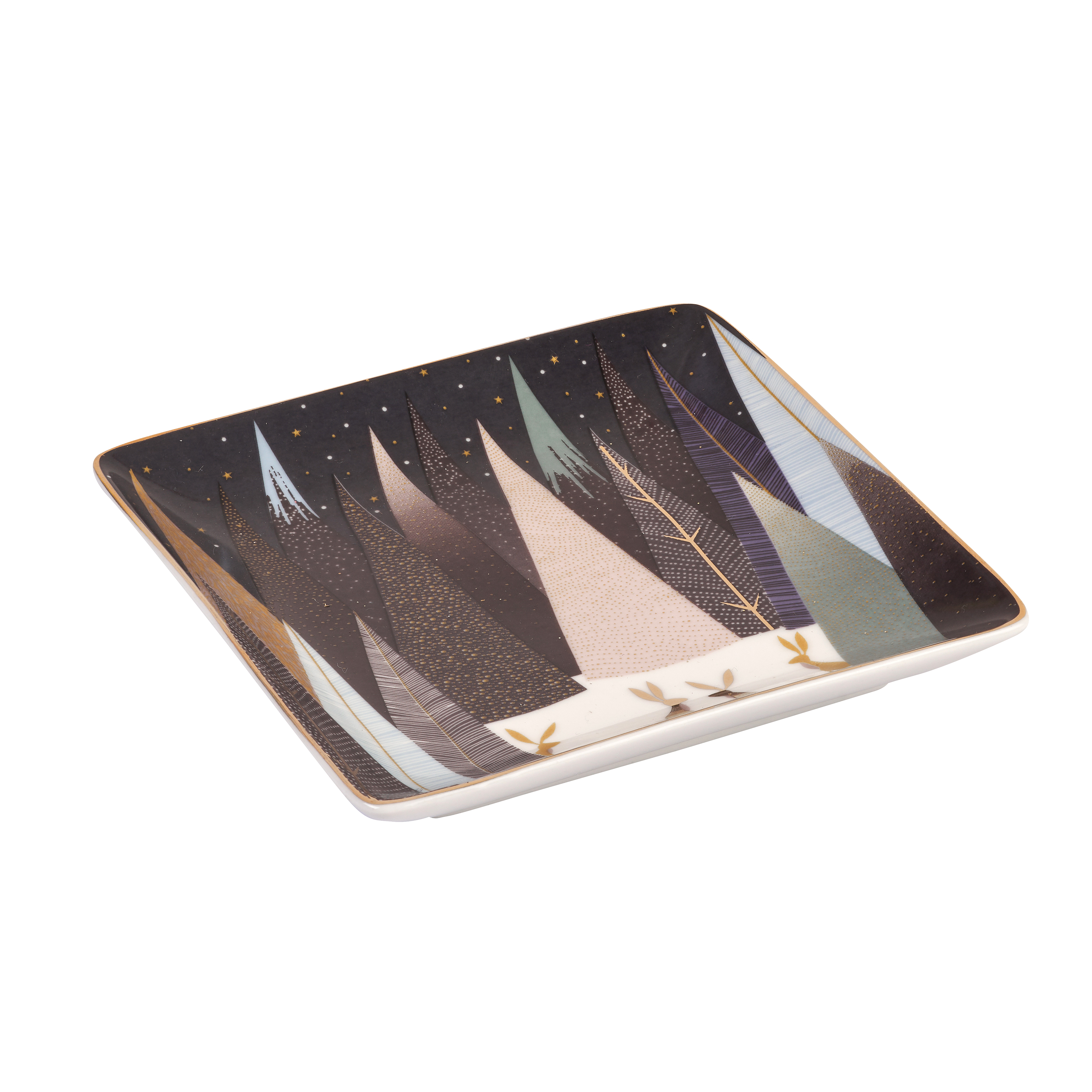 Sara Miller London for Portmeirion Frosted Pines Set of 3 Square Trays 4.5 Inch image number 1