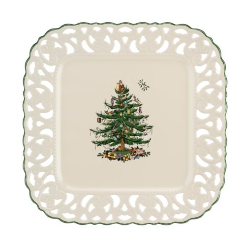 Spode Christmas Tree Pierced Square 12 Inch Platter image number 0