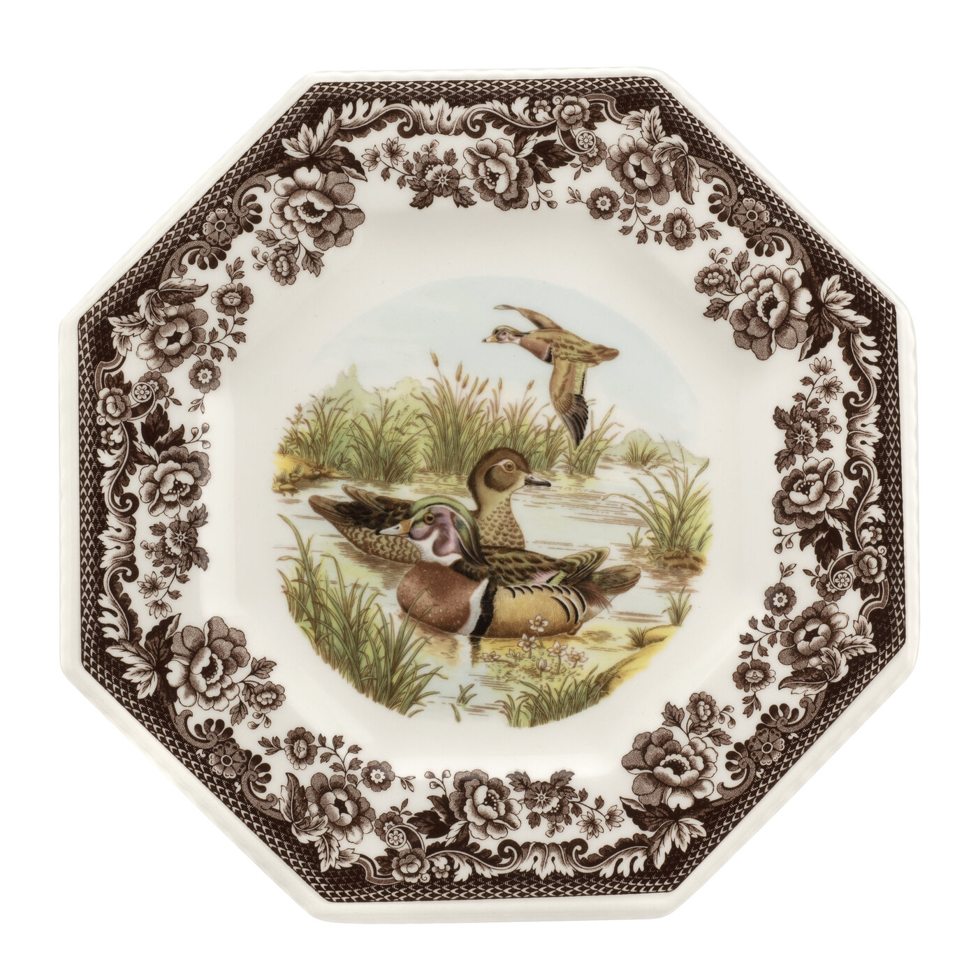 Spode Woodland Octagonal Plate 9.5 Inch (Wood Duck) image number 0