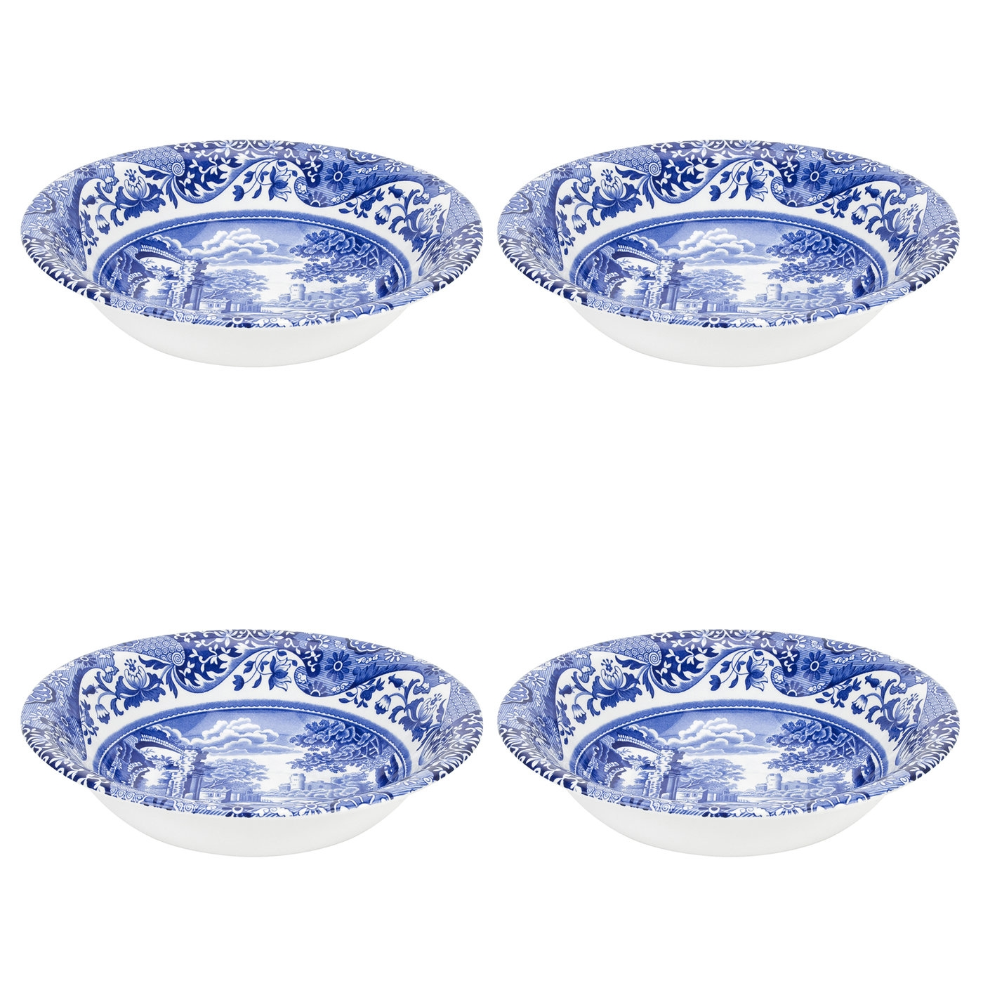 Spode Blue Italian Set of 4 Ascot Cereal Bowls image number 0