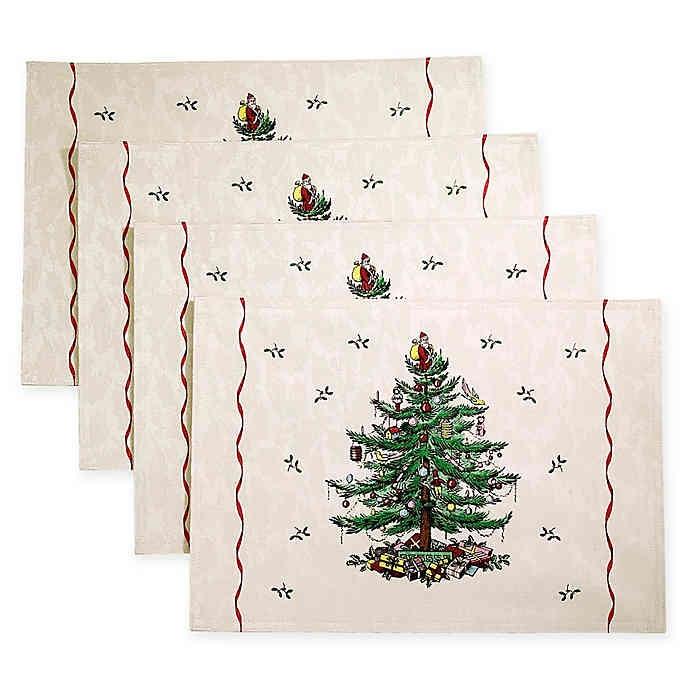 Spode Christmas Tree Cloth Placemats Set Of 4 Spode