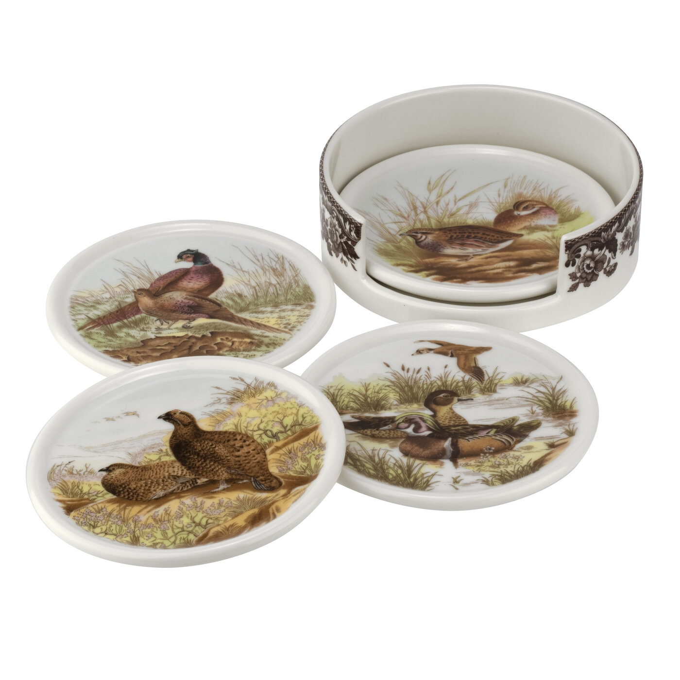 Spode Woodland 4 Piece Ceramic Coasters with Holder  image number 0