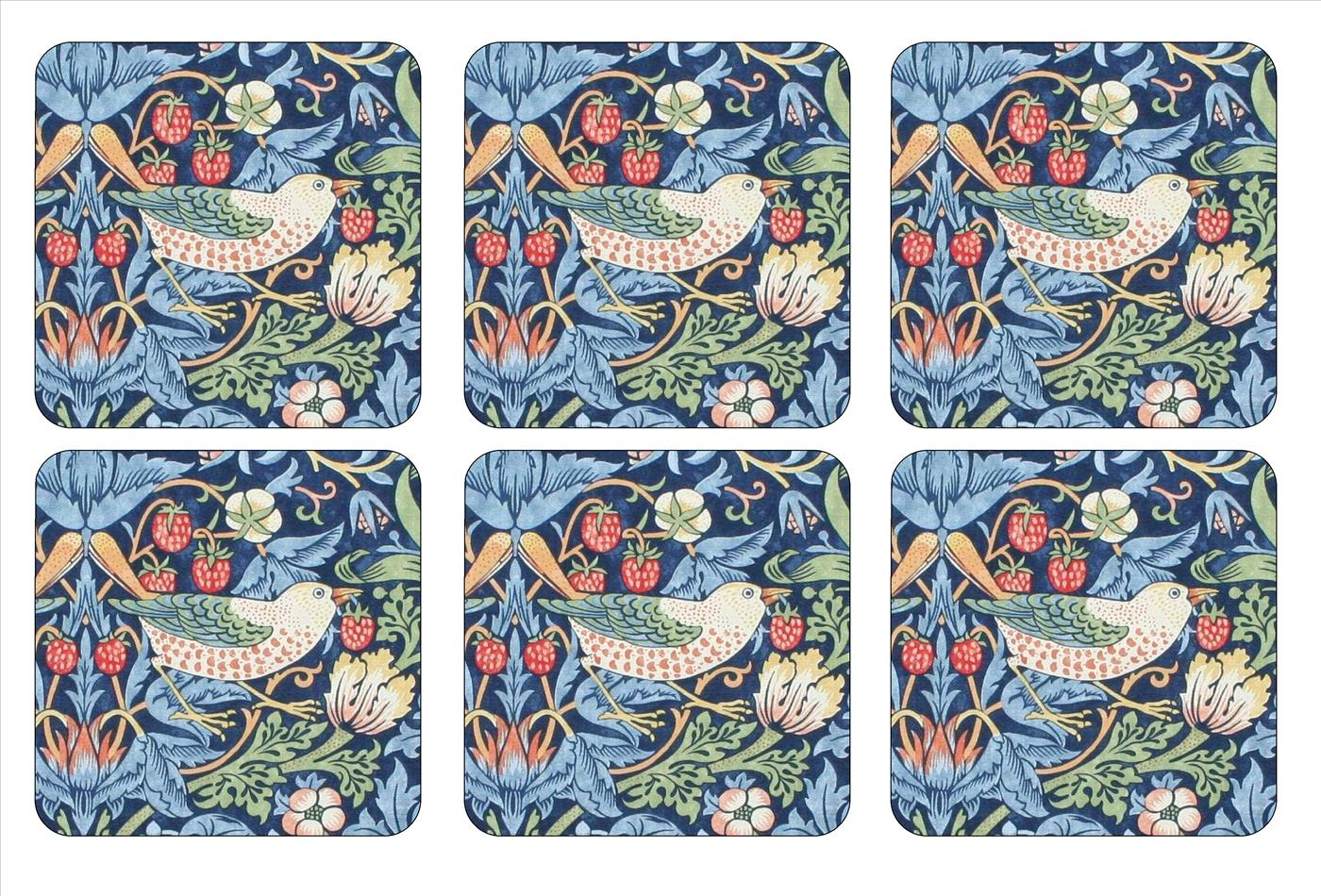 Morris and Co for Pimpernel Strawberry Thief Blue Coasters Set of 6 image number 0
