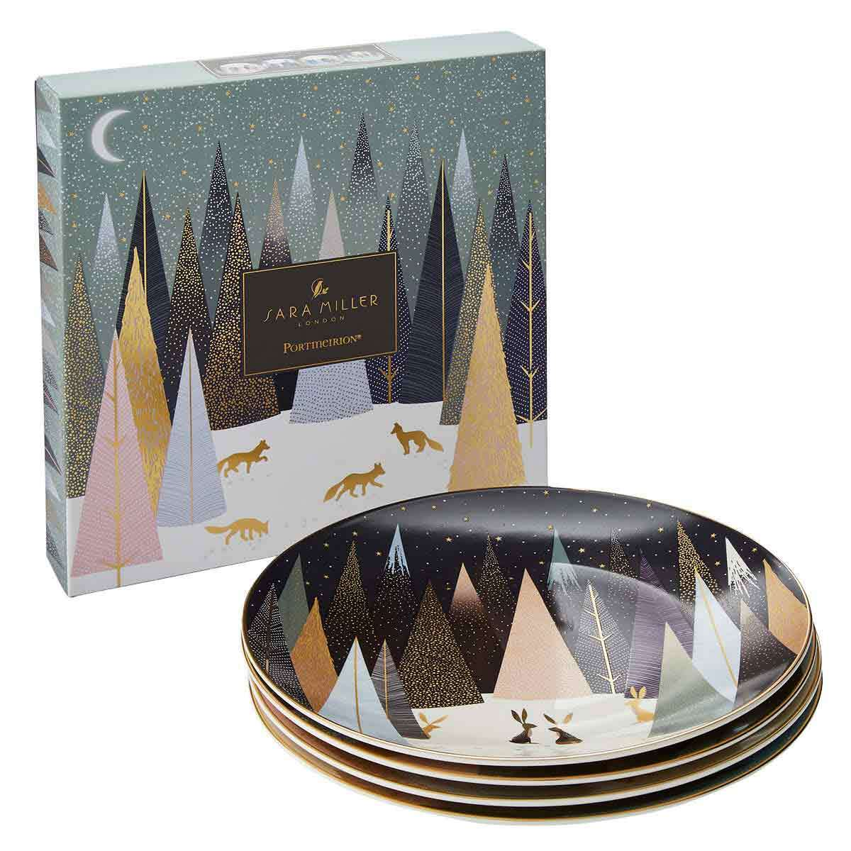 Sara Miller London for Portmeirion Frosted Pines Dessert Plates Set of 4 image number 1