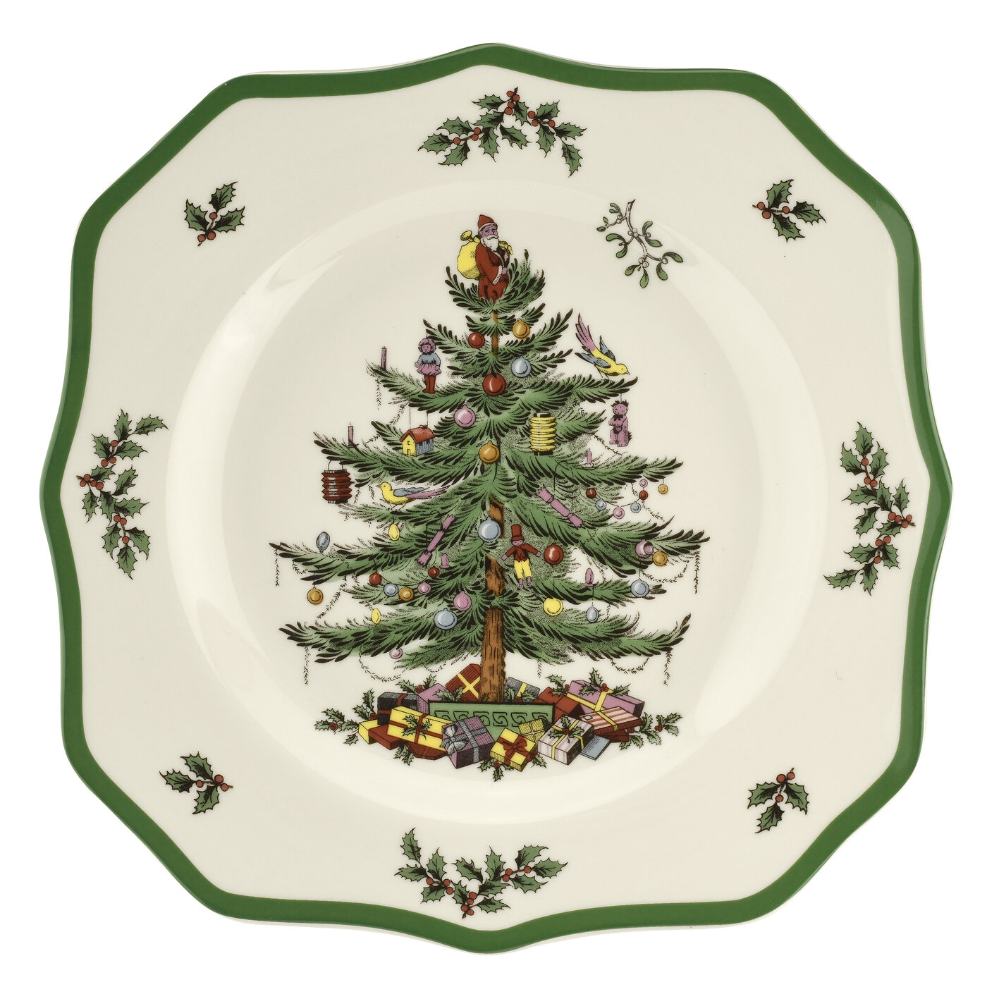 Spode Christmas Tree 10.5 Inch Scalloped Dinner Plate image number 0