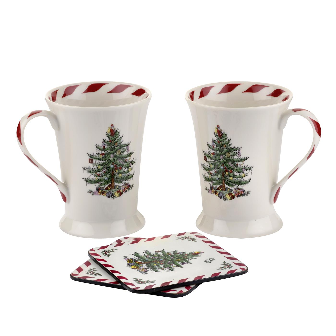 Pimpernel Christmas Tree Peppermint Set of 2 Mugs And Coasters image number 0