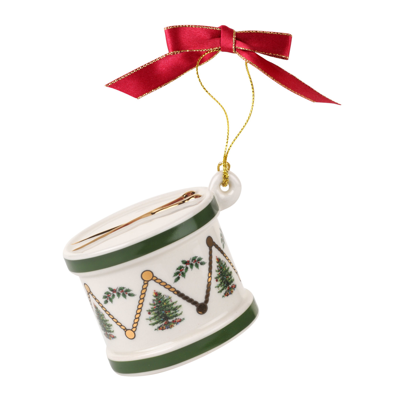 Spode Christmas Tree Drum Ornament image number 0