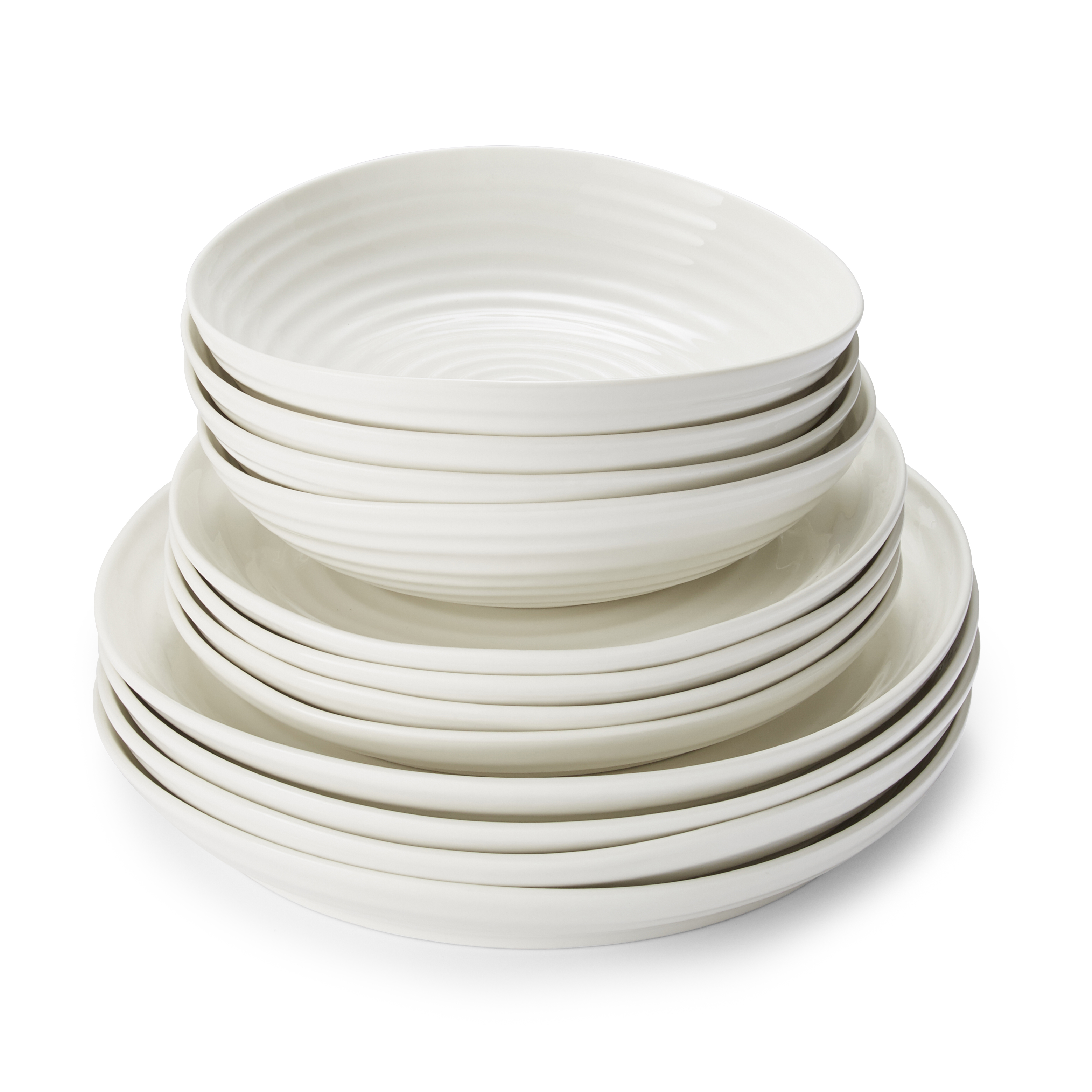 Portmeirion Sophie Conran White 12 Piece Set Coupe Shape image number 1