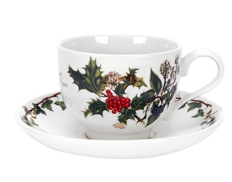 Portmeirion The Holly and The Ivy Teacup and Saucer Set (Single) image number 0