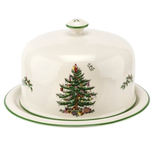 Spode Christmas Tree 2 Piece Serving Platter with  Dome  image number 0
