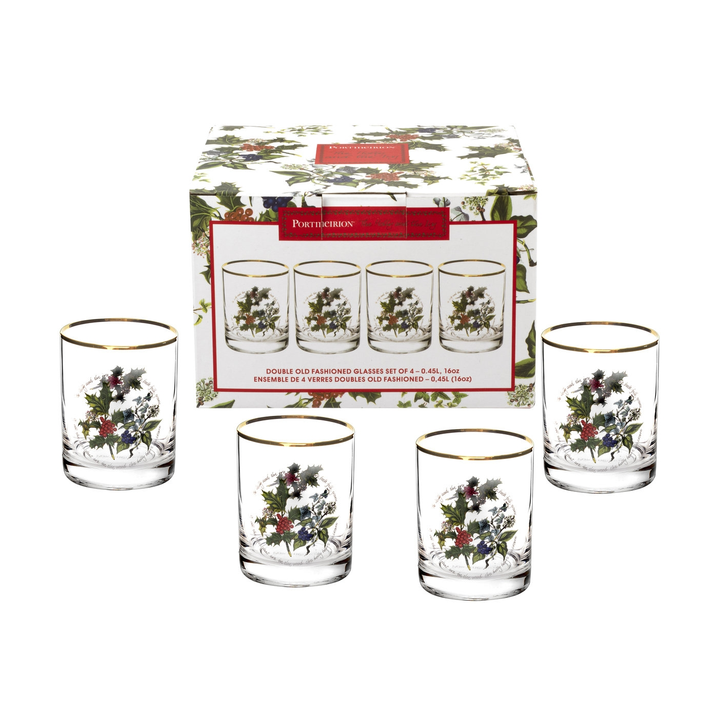 Portmeirion The Holly and The Ivy Set of 4 Double Old Fashioned image number 0