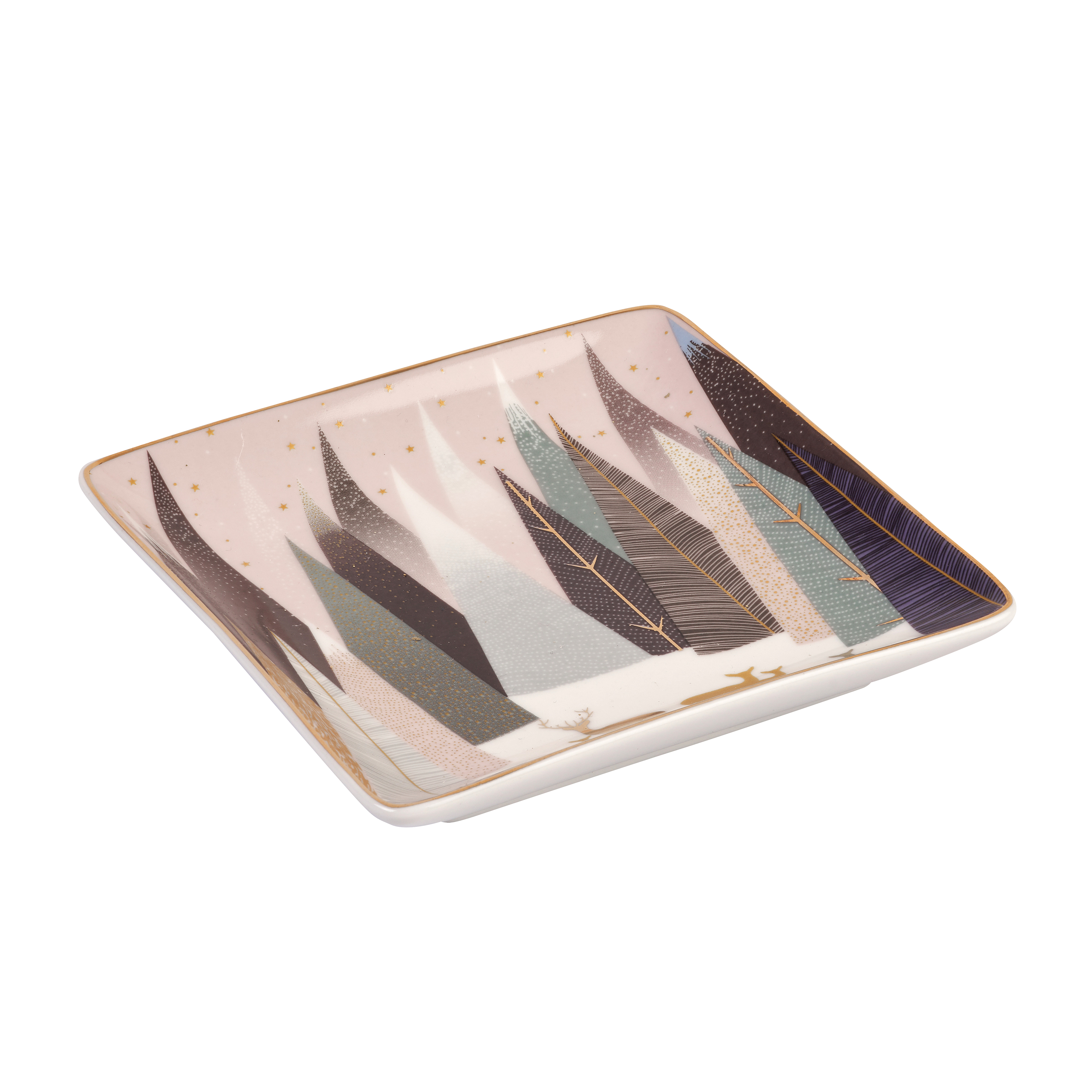 Sara Miller London for Portmeirion Frosted Pines Set of 3 Square Trays 4.5 Inch image number 2